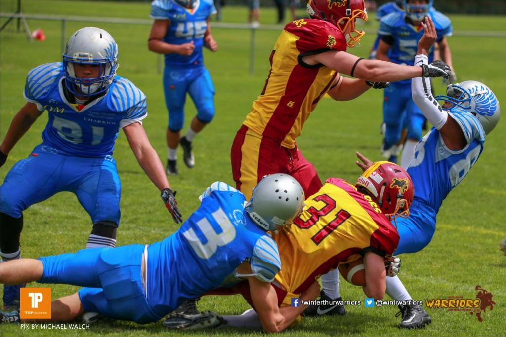 Julian Rapka #31 (Winterthur),beim US-Sports spiel der American Football - U19 zwischen dem Geneva Seahawks und dem Winterthur Warriors U19, on Sunday,  27. May 2018 im Centre Sportif de Vessy in Genève. (TOPpictures/Michael Walch)  Bild-Id: WAM_42576