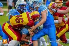 Reto Faessler #46 (Winterthur),beim US-Sports spiel der American Football - U19 zwischen dem Geneva Seahawks und dem Winterthur Warriors U19, on Sunday,  27. May 2018 im Centre Sportif de Vessy in Genève. (TOPpictures/Michael Walch)  Bild-Id: WAM_42468