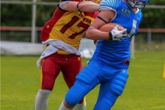 Joshua Meier #17 (Winterthur),beim US-Sports spiel der American Football - U19 zwischen dem Geneva Seahawks und dem Winterthur Warriors U19, on Sunday,  27. May 2018 im Centre Sportif de Vessy in Genève. (TOPpictures/Michael Walch)  Bild-Id: WAM_42492