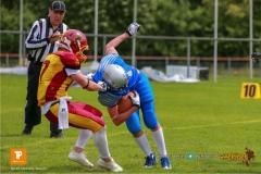 Beim US-Sports spiel der American Football - U19 zwischen dem Geneva Seahawks und dem Winterthur Warriors U19, on Sunday,  27. May 2018 im Centre Sportif de Vessy in Genève. (TOPpictures/Michael Walch)  Bild-Id: WAM_42495