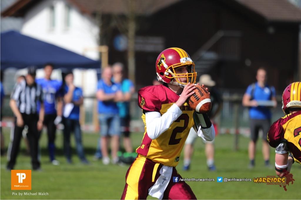 Beim US-Sports spiel der American Football  zwischen dem Luzern Lions und dem Winterthur Warriors (U19), on Sunday,  08. April 2018 auf der Allmend Süd in Luzern. (TOPpictures/Michael Walch)Bild-Id: WAM_35337