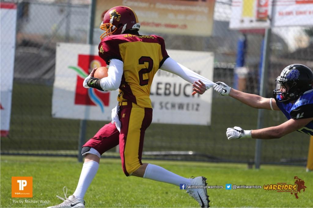 Beim US-Sports spiel der American Football  zwischen dem Luzern Lions und dem Winterthur Warriors (U19), on Sunday,  08. April 2018 auf der Allmend Süd in Luzern. (TOPpictures/Michael Walch)Bild-Id: WAM_35359