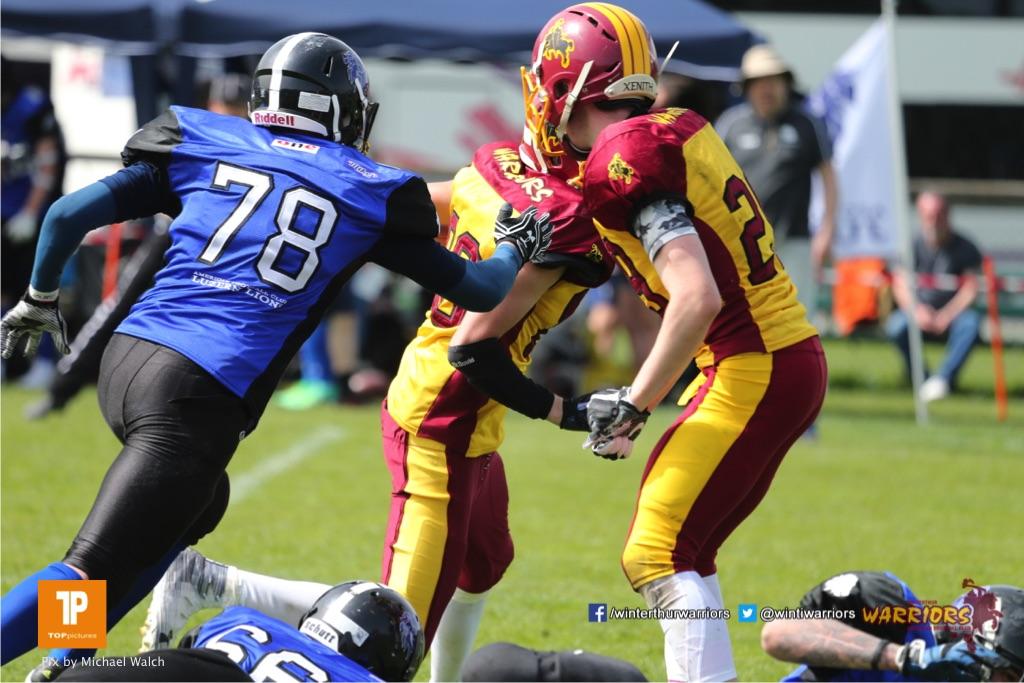 Beim US-Sports spiel der American Football  zwischen dem Luzern Lions und dem Winterthur Warriors (U19), on Sunday,  08. April 2018 auf der Allmend Süd in Luzern. (TOPpictures/Michael Walch)Bild-Id: WAM_35460