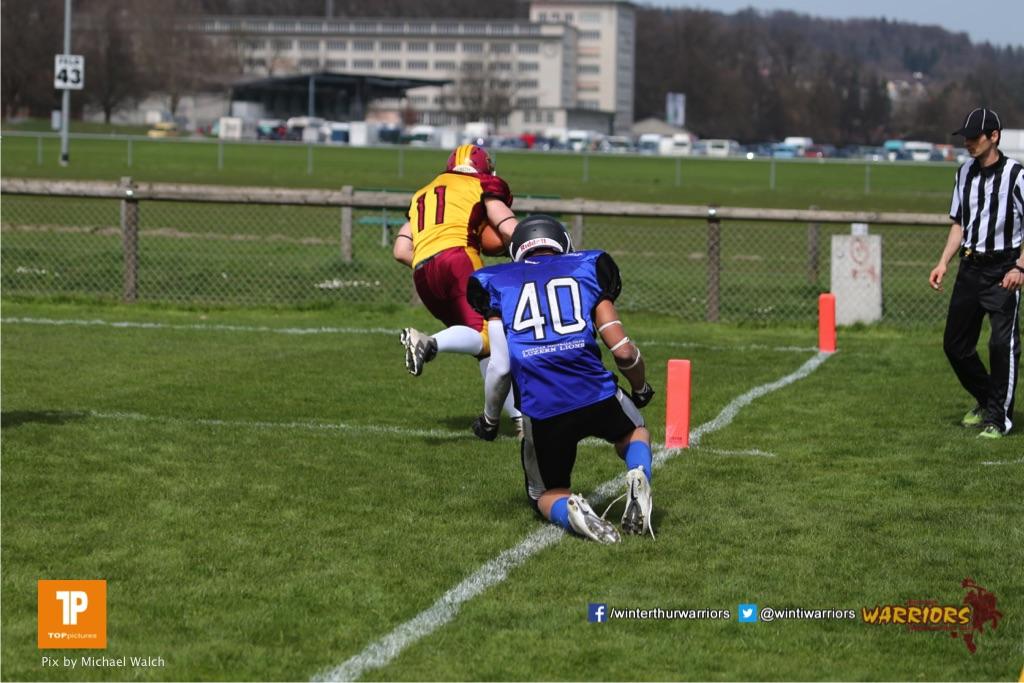 Beim US-Sports spiel der American Football  zwischen dem Luzern Lions und dem Winterthur Warriors (U19), on Sunday,  08. April 2018 auf der Allmend Süd in Luzern. (TOPpictures/Michael Walch)Bild-Id: WAM_35508