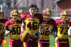 Beim US-Sports spiel der American Football  zwischen dem Luzern Lions und dem Winterthur Warriors (U19), on Sunday,  08. April 2018 auf der Allmend Süd in Luzern. (TOPpictures/Michael Walch)Bild-Id: WAM_35277