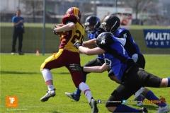 Beim US-Sports spiel der American Football  zwischen dem Luzern Lions und dem Winterthur Warriors (U19), on Sunday,  08. April 2018 auf der Allmend Süd in Luzern. (TOPpictures/Michael Walch)Bild-Id: WAM_35358