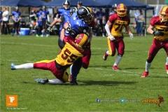 Beim US-Sports spiel der American Football  zwischen dem Luzern Lions und dem Winterthur Warriors (U19), on Sunday,  08. April 2018 auf der Allmend Süd in Luzern. (TOPpictures/Michael Walch)Bild-Id: WAM_35443