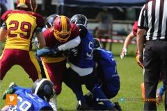 Beim US-Sports spiel der American Football  zwischen dem Luzern Lions und dem Winterthur Warriors (U19), on Sunday,  08. April 2018 auf der Allmend Süd in Luzern. (TOPpictures/Michael Walch)Bild-Id: WAM_35461