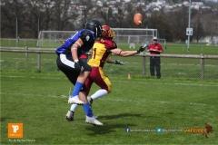 Beim US-Sports spiel der American Football  zwischen dem Luzern Lions und dem Winterthur Warriors (U19), on Sunday,  08. April 2018 auf der Allmend Süd in Luzern. (TOPpictures/Michael Walch)Bild-Id: WAM_35506