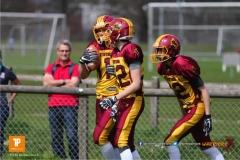 Beim US-Sports spiel der American Football  zwischen dem Luzern Lions und dem Winterthur Warriors (U19), on Sunday,  08. April 2018 auf der Allmend Süd in Luzern. (TOPpictures/Michael Walch)Bild-Id: WAM_35510