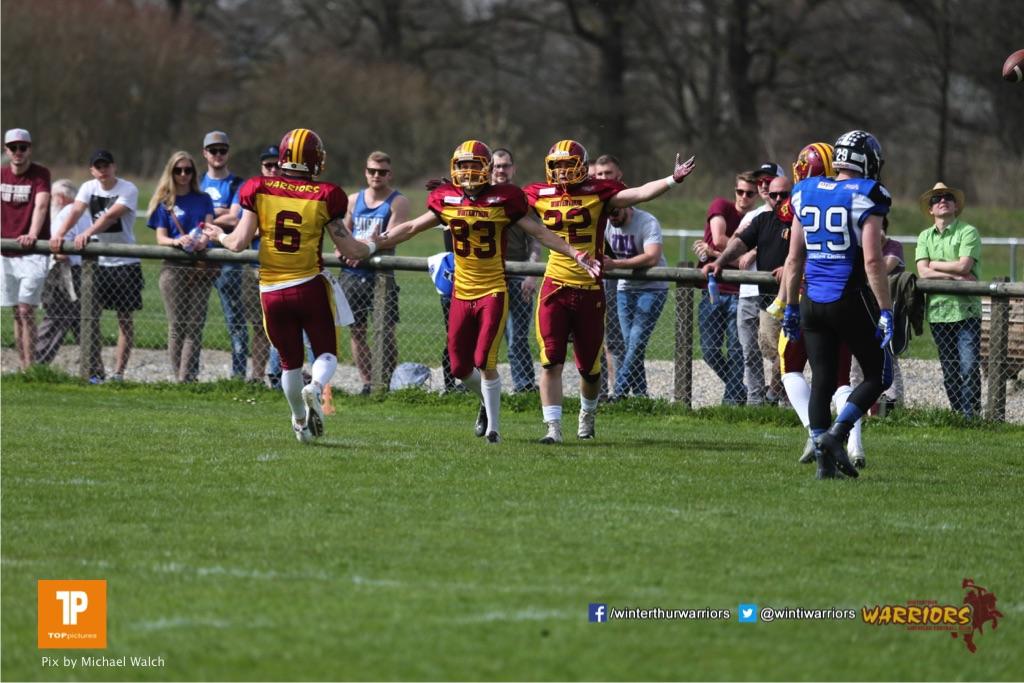 Moritz Boller #83 (Winterthur),beim US-Sports spiel der American Football  zwischen dem Luzern Lions und dem Winterthur Warriors, on Sunday,  08. April 2018 auf der Allmend Süd in Luzern. (TOPpictures/Michael Walch)Bild-Id: WAM_35663