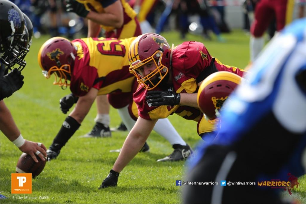Beim US-Sports spiel der American Football  zwischen dem Luzern Lions und dem Winterthur Warriors, on Sunday,  08. April 2018 auf der Allmend Süd in Luzern. (TOPpictures/Michael Walch)Bild-Id: WAM_35760