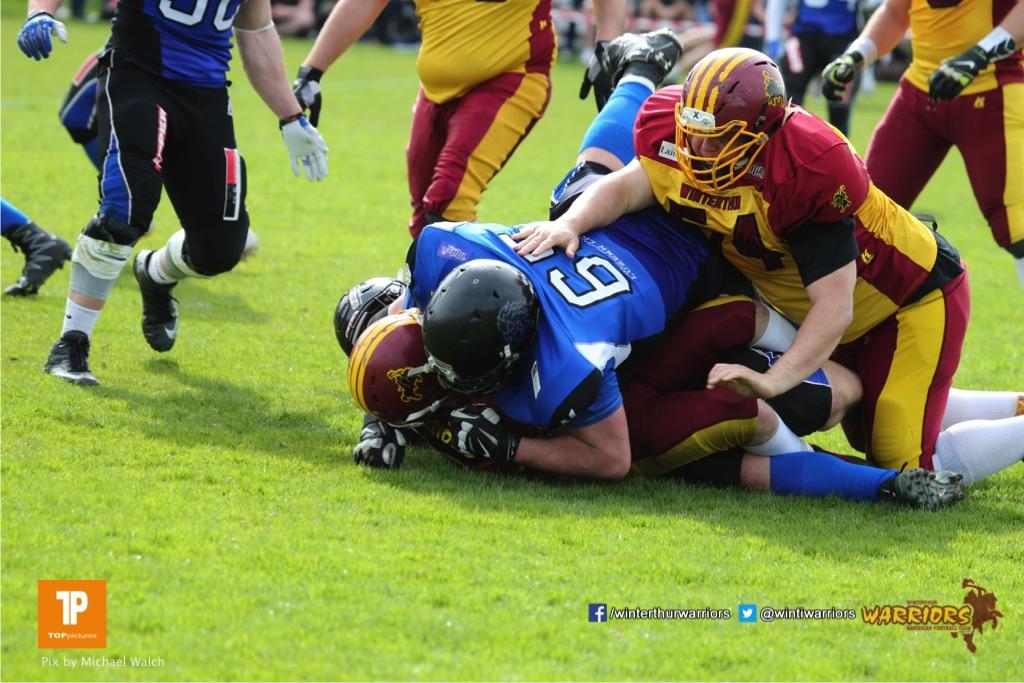Beim US-Sports spiel der American Football  zwischen dem Luzern Lions und dem Winterthur Warriors, on Sunday,  08. April 2018 auf der Allmend Süd in Luzern. (TOPpictures/Michael Walch)Bild-Id: WAM_35775