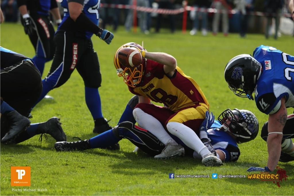 Beim US-Sports spiel der American Football  zwischen dem Luzern Lions und dem Winterthur Warriors, on Sunday,  08. April 2018 auf der Allmend Süd in Luzern. (TOPpictures/Michael Walch)Bild-Id: WAM_35816