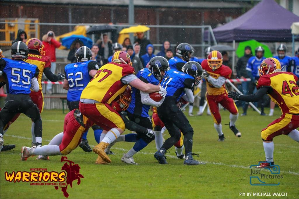 Beim US-Sports spiel der American Football U 19 zwischen dem Luzern Lions und dem Winterthur Warriors, on Sunday,  14. April 2019 auf der Allmend  in Luzern. (Just Pictures/Michael Walch) Bild-Id: WAM_56418