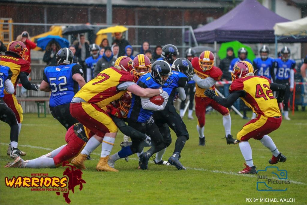 Beim US-Sports spiel der American Football U 19 zwischen dem Luzern Lions und dem Winterthur Warriors, on Sunday,  14. April 2019 auf der Allmend  in Luzern. (Just Pictures/Michael Walch)Bild-Id: WAM_56419