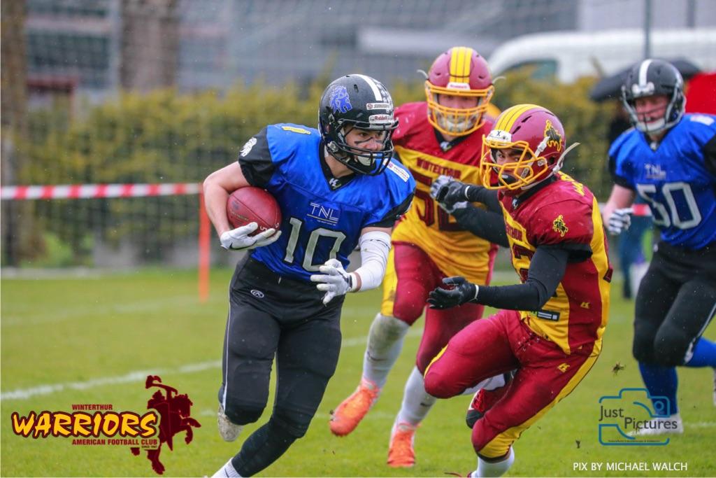 Beim US-Sports spiel der American Football U 19 zwischen dem Luzern Lions und dem Winterthur Warriors, on Sunday,  14. April 2019 auf der Allmend  in Luzern. (Just Pictures/Michael Walch)Bild-Id: WAM_56432