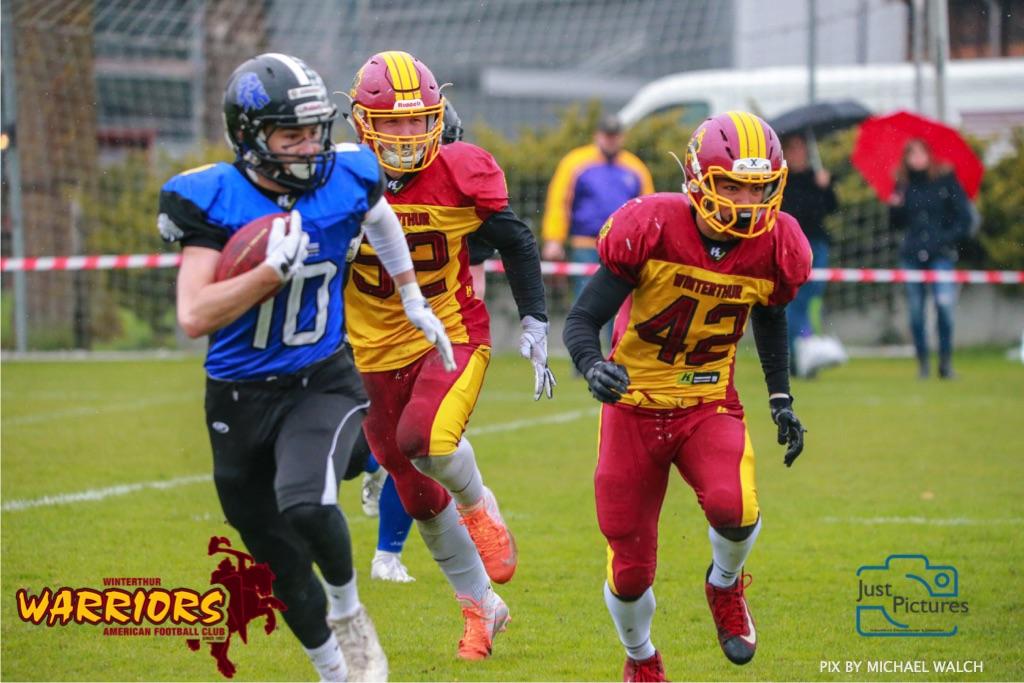 Beim US-Sports spiel der American Football U 19 zwischen dem Luzern Lions und dem Winterthur Warriors, on Sunday,  14. April 2019 auf der Allmend  in Luzern. (Just Pictures/Michael Walch) Bild-Id: WAM_56434