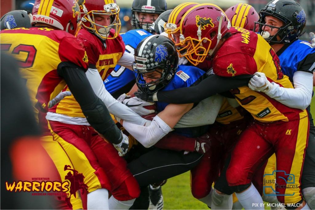 Beim US-Sports spiel der American Football U 19 zwischen dem Luzern Lions und dem Winterthur Warriors, on Sunday,  14. April 2019 auf der Allmend  in Luzern. (Just Pictures/Michael Walch) Bild-Id: WAM_56444