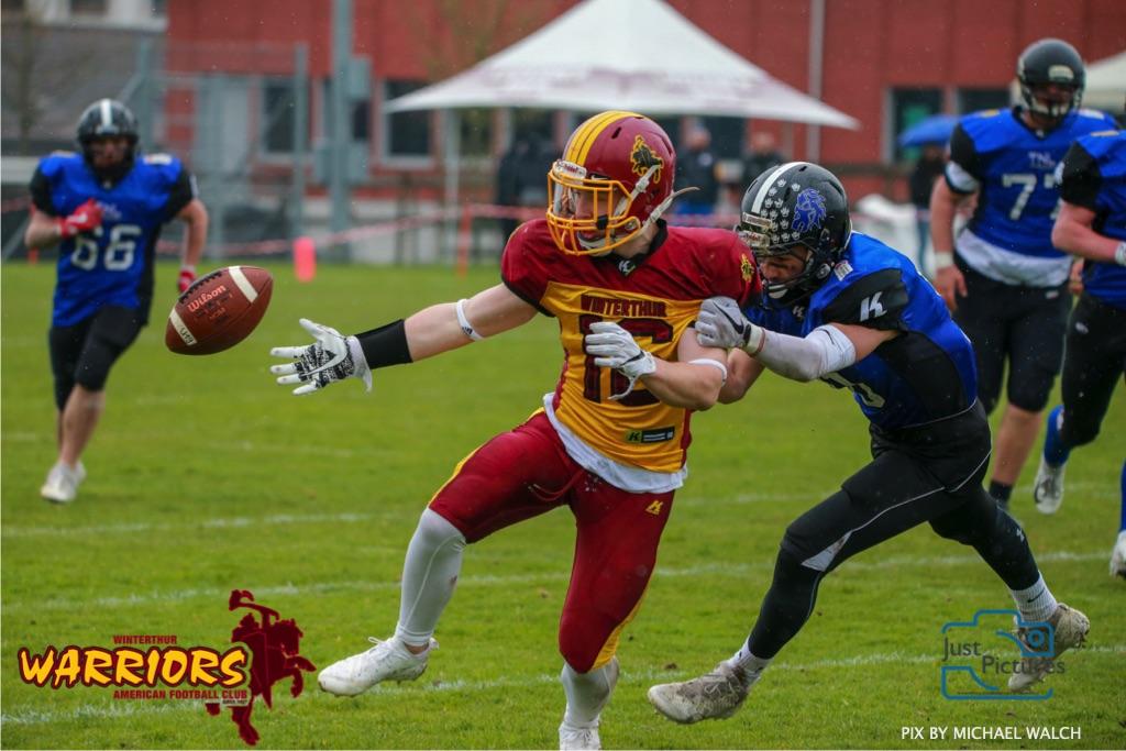 Beim US-Sports spiel der American Football U 19 zwischen dem Luzern Lions und dem Winterthur Warriors, on Sunday,  14. April 2019 auf der Allmend  in Luzern. (Just Pictures/Michael Walch)Bild-Id: WAM_56471