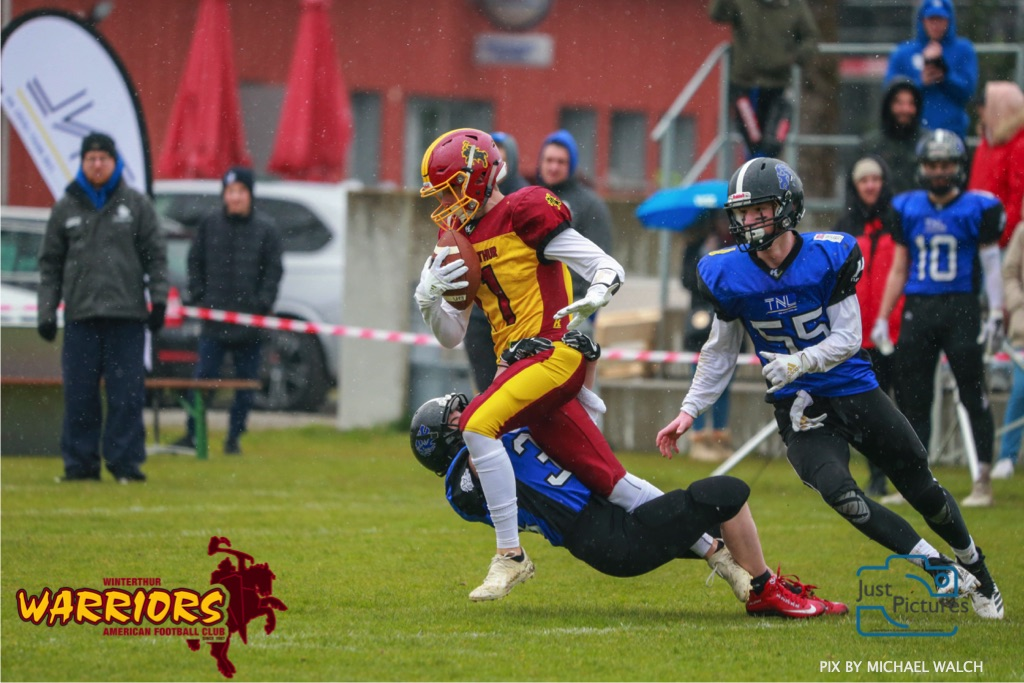 Beim US-Sports spiel der American Football U 19 zwischen dem Luzern Lions und dem Winterthur Warriors, on Sunday,  14. April 2019 auf der Allmend  in Luzern. (Just Pictures/Michael Walch) Bild-Id: WAM_56482