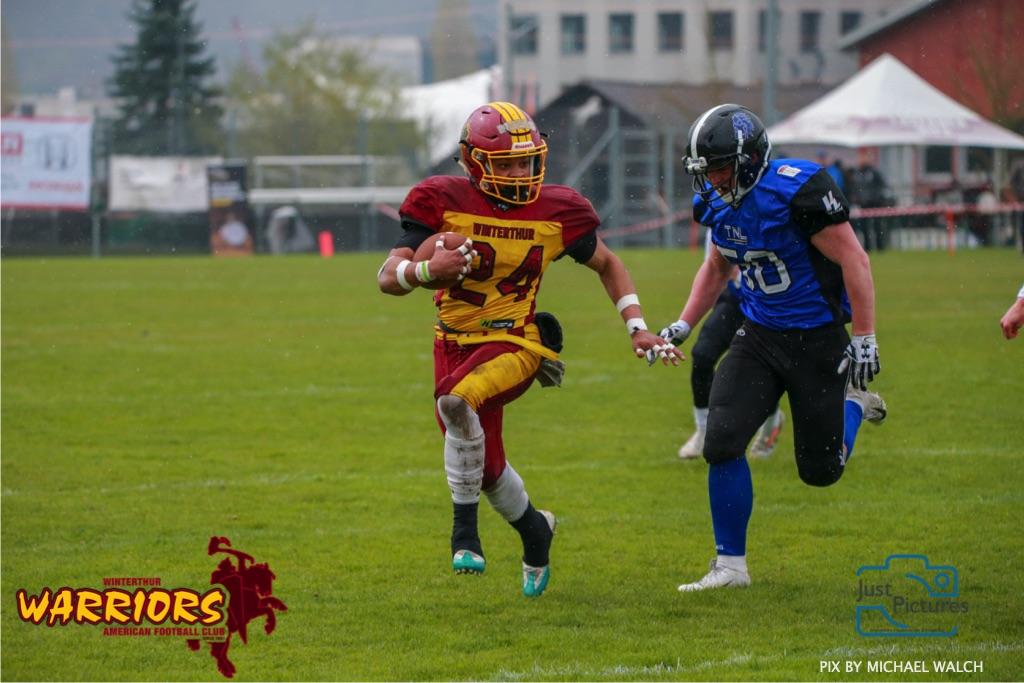 Beim US-Sports spiel der American Football U 19 zwischen dem Luzern Lions und dem Winterthur Warriors, on Sunday,  14. April 2019 auf der Allmend  in Luzern. (Just Pictures/Michael Walch)Bild-Id: WAM_56487