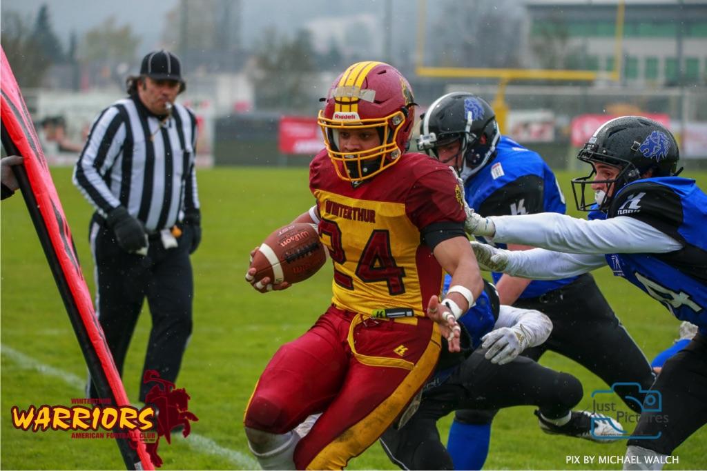 Beim US-Sports spiel der American Football U 19 zwischen dem Luzern Lions und dem Winterthur Warriors, on Sunday,  14. April 2019 auf der Allmend  in Luzern. (Just Pictures/Michael Walch) Bild-Id: WAM_56490