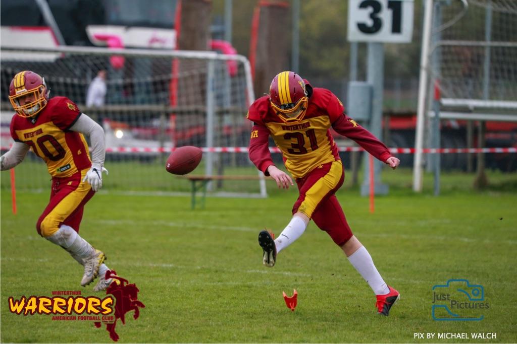 Beim US-Sports spiel der American Football U 19 zwischen dem Luzern Lions und dem Winterthur Warriors, on Sunday,  14. April 2019 auf der Allmend  in Luzern. (Just Pictures/Michael Walch) Bild-Id: WAM_56565