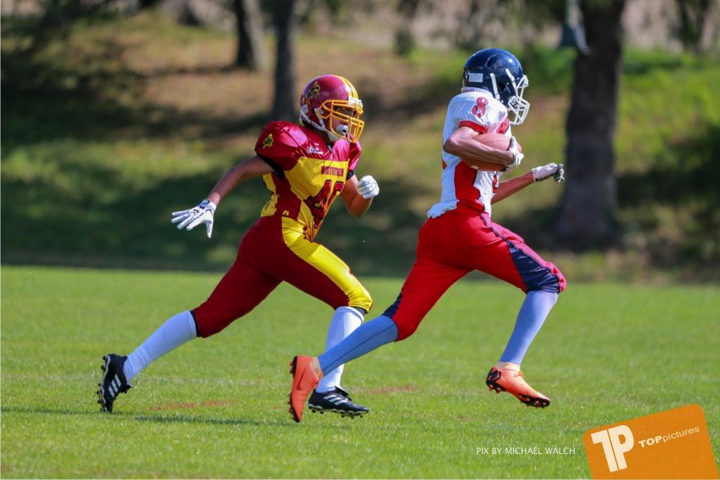 Beim US-Sports spiel der American Football - U16 zwischen dem Calanda Broncos U16 und dem Winterthur Warriors  U16, on Sunday,  26. August 2018 auf dem Sportplatz Looren in Witikon. (TOPpictures/Michael Walch)  Bild-Id: WAM_45370