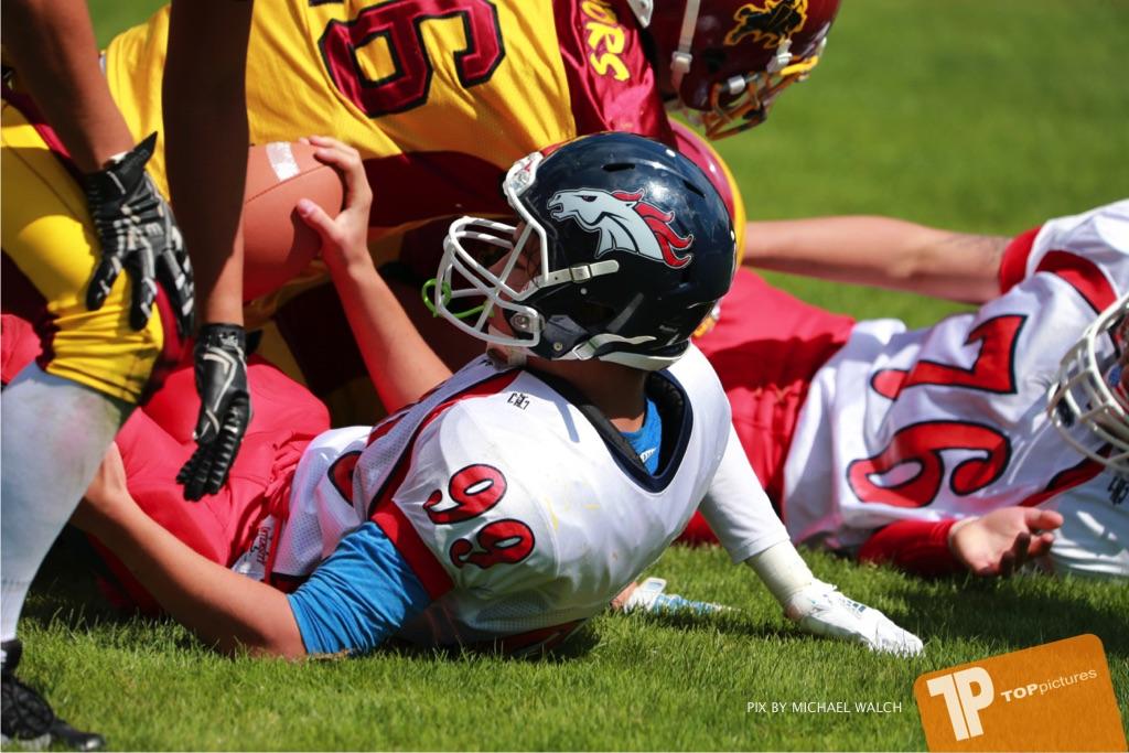 Beim US-Sports spiel der American Football - U16 zwischen dem Calanda Broncos U16 und dem Winterthur Warriors  U16, on Sunday,  26. August 2018 auf dem Sportplatz Looren in Witikon. (TOPpictures/Michael Walch)  Bild-Id: WAM_45522