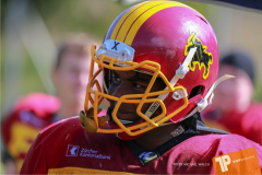 Beim US-Sports spiel der American Football - U16 zwischen dem Calanda Broncos U16 und dem Winterthur Warriors  U16, on Sunday,  26. August 2018 auf dem Sportplatz Looren in Witikon. (TOPpictures/Michael Walch)  Bild-Id: WAM_45304