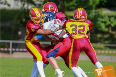 Beim US-Sports spiel der American Football - U16 zwischen dem Calanda Broncos U16 und dem Winterthur Warriors  U16, on Sunday,  26. August 2018 auf dem Sportplatz Looren in Witikon. (TOPpictures/Michael Walch)  Bild-Id: WAM_45335