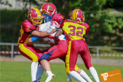 Beim US-Sports spiel der American Football - U16 zwischen dem Calanda Broncos U16 und dem Winterthur Warriors  U16, on Sunday,  26. August 2018 auf dem Sportplatz Looren in Witikon. (TOPpictures/Michael Walch)  Bild-Id: WAM_45336