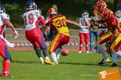 Beim US-Sports spiel der American Football - U16 zwischen dem Calanda Broncos U16 und dem Winterthur Warriors  U16, on Sunday,  26. August 2018 auf dem Sportplatz Looren in Witikon. (TOPpictures/Michael Walch)  Bild-Id: WAM_45346