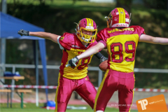 Beim US-Sports spiel der American Football - U16 zwischen dem Calanda Broncos U16 und dem Winterthur Warriors  U16, on Sunday,  26. August 2018 auf dem Sportplatz Looren in Witikon. (TOPpictures/Michael Walch)  Bild-Id: WAM_45357