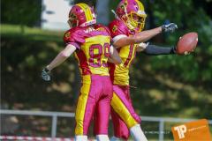 Beim US-Sports spiel der American Football - U16 zwischen dem Calanda Broncos U16 und dem Winterthur Warriors  U16, on Sunday,  26. August 2018 auf dem Sportplatz Looren in Witikon. (TOPpictures/Michael Walch)  Bild-Id: WAM_45358