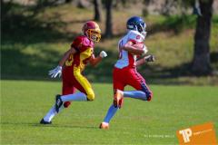 Beim US-Sports spiel der American Football - U16 zwischen dem Calanda Broncos U16 und dem Winterthur Warriors  U16, on Sunday,  26. August 2018 auf dem Sportplatz Looren in Witikon. (TOPpictures/Michael Walch)  Bild-Id: WAM_45369