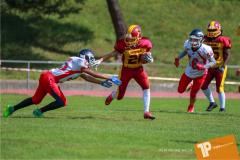 Beim US-Sports spiel der American Football - U16 zwischen dem Calanda Broncos U16 und dem Winterthur Warriors  U16, on Sunday,  26. August 2018 auf dem Sportplatz Looren in Witikon. (TOPpictures/Michael Walch)  Bild-Id: WAM_45376