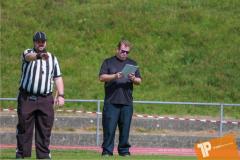 Beim US-Sports spiel der American Football - U16 zwischen dem Calanda Broncos U16 und dem Winterthur Warriors  U16, on Sunday,  26. August 2018 auf dem Sportplatz Looren in Witikon. (TOPpictures/Michael Walch)  Bild-Id: WAM_45409