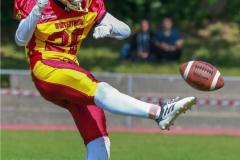 Beim US-Sports spiel der American Football - U16 zwischen dem Calanda Broncos U16 und dem Winterthur Warriors  U16, on Sunday,  26. August 2018 auf dem Sportplatz Looren in Witikon. (TOPpictures/Michael Walch)  Bild-Id: WAM_45417