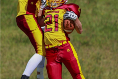 Beim US-Sports spiel der American Football - U16 zwischen dem Calanda Broncos U16 und dem Winterthur Warriors  U16, on Sunday,  26. August 2018 auf dem Sportplatz Looren in Witikon. (TOPpictures/Michael Walch)  Bild-Id: WAM_45441