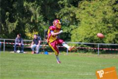 Beim US-Sports spiel der American Football - U16 zwischen dem Calanda Broncos U16 und dem Winterthur Warriors  U16, on Sunday,  26. August 2018 auf dem Sportplatz Looren in Witikon. (TOPpictures/Michael Walch)  Bild-Id: WAM_45444