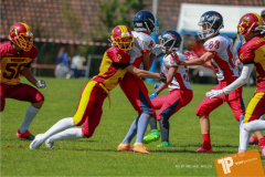 Beim US-Sports spiel der American Football - U16 zwischen dem Calanda Broncos U16 und dem Winterthur Warriors  U16, on Sunday,  26. August 2018 auf dem Sportplatz Looren in Witikon. (TOPpictures/Michael Walch)  Bild-Id: WAM_45448