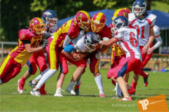 Beim US-Sports spiel der American Football - U16 zwischen dem Calanda Broncos U16 und dem Winterthur Warriors  U16, on Sunday,  26. August 2018 auf dem Sportplatz Looren in Witikon. (TOPpictures/Michael Walch)  Bild-Id: WAM_45458