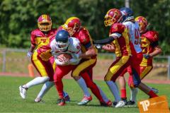 Beim US-Sports spiel der American Football - U16 zwischen dem Calanda Broncos U16 und dem Winterthur Warriors  U16, on Sunday,  26. August 2018 auf dem Sportplatz Looren in Witikon. (TOPpictures/Michael Walch)  Bild-Id: WAM_45460