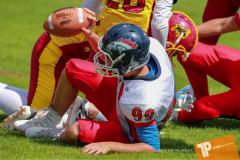 Beim US-Sports spiel der American Football - U16 zwischen dem Calanda Broncos U16 und dem Winterthur Warriors  U16, on Sunday,  26. August 2018 auf dem Sportplatz Looren in Witikon. (TOPpictures/Michael Walch)  Bild-Id: WAM_45524