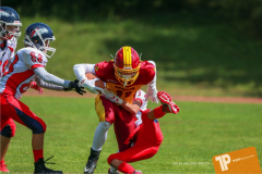 Beim US-Sports spiel der American Football - U16 zwischen dem Calanda Broncos U16 und dem Winterthur Warriors  U16, on Sunday,  26. August 2018 auf dem Sportplatz Looren in Witikon. (TOPpictures/Michael Walch)  Bild-Id: WAM_45529