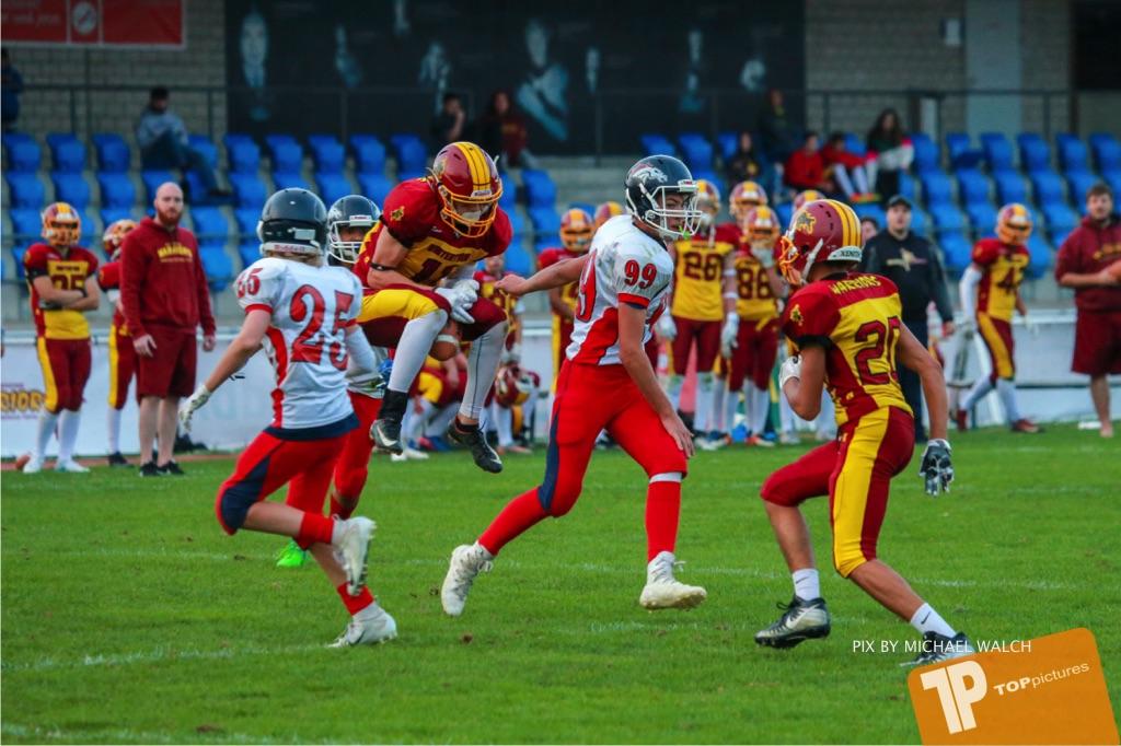 Beim US-Sports spiel der American Football - U16 zwischen dem Winterthur Warriors U16 und dem Calanda Broncos U16, on Saturday,  29. September 2018 im Sportanlage Deutweg in Winterthur . (TOPpictures/Michael Walch) Bild-Id: WAM_46160
