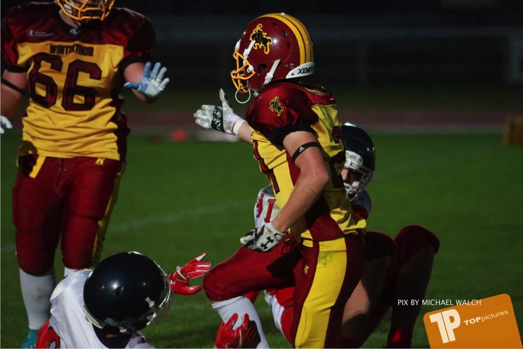 Beim US-Sports spiel der American Football - U16 zwischen dem Winterthur Warriors U16 und dem Calanda Broncos U16, on Saturday,  29. September 2018 im Sportanlage Deutweg in Winterthur . (TOPpictures/Michael Walch) Bild-Id: WAM_46231