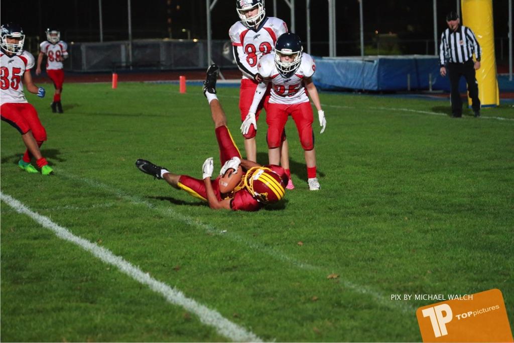 Beim US-Sports spiel der American Football - U16 zwischen dem Winterthur Warriors U16 und dem Calanda Broncos U16, on Saturday,  29. September 2018 im Sportanlage Deutweg in Winterthur . (TOPpictures/Michael Walch) Bild-Id: WAM_46241